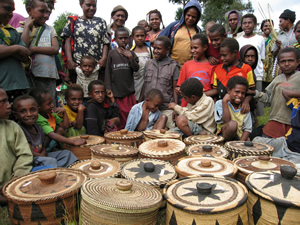 Villagers pose with beautiful woven baskets