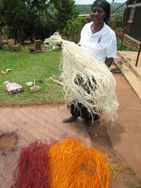 Weaver in Uganda holding dyed leaf stalk