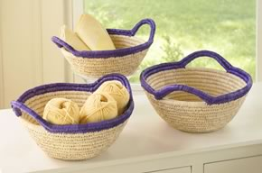 Fruit Bowl Purple Rim