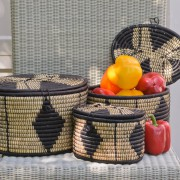 Oval Lidded Storage Basket in Black