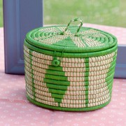 Oval Lidded Basket in Green