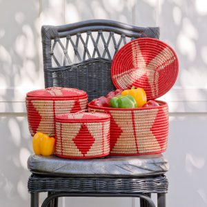 Oval Lidded Storage Basket